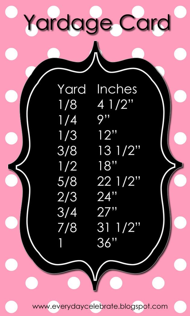 Everyday Celebrations: Sewing Tips: Yardage Card