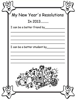 New Year's Resolution Writing- 1 page