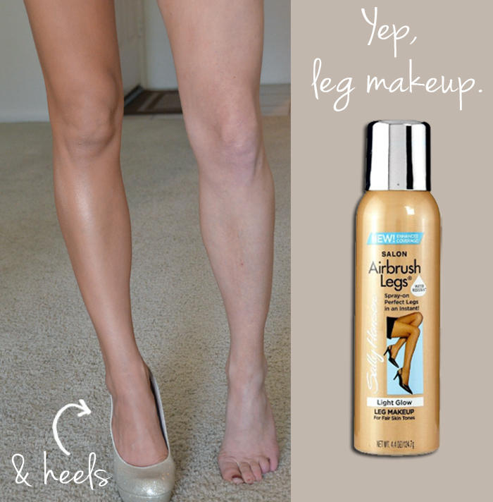Leg makeup.  Bridesmaid dress. Oh yeah. It makes a difference for those of us wh