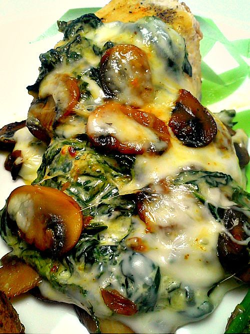 Smothered Chicken with Mushrooms and Spinach