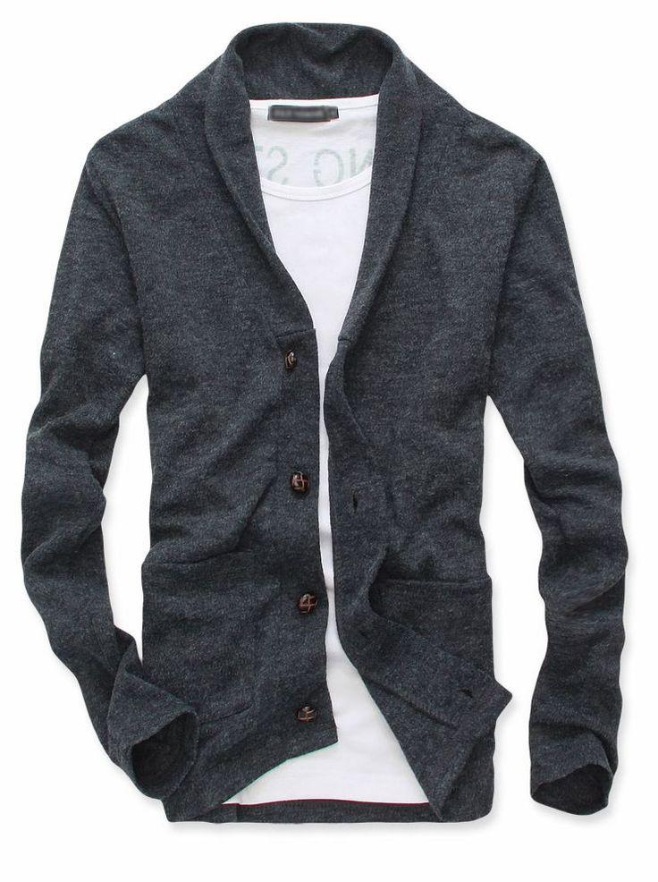 Men Stylish Single-breasted Double Pockets Cardigan Coat