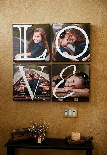 Incorporate letters into photo canvases