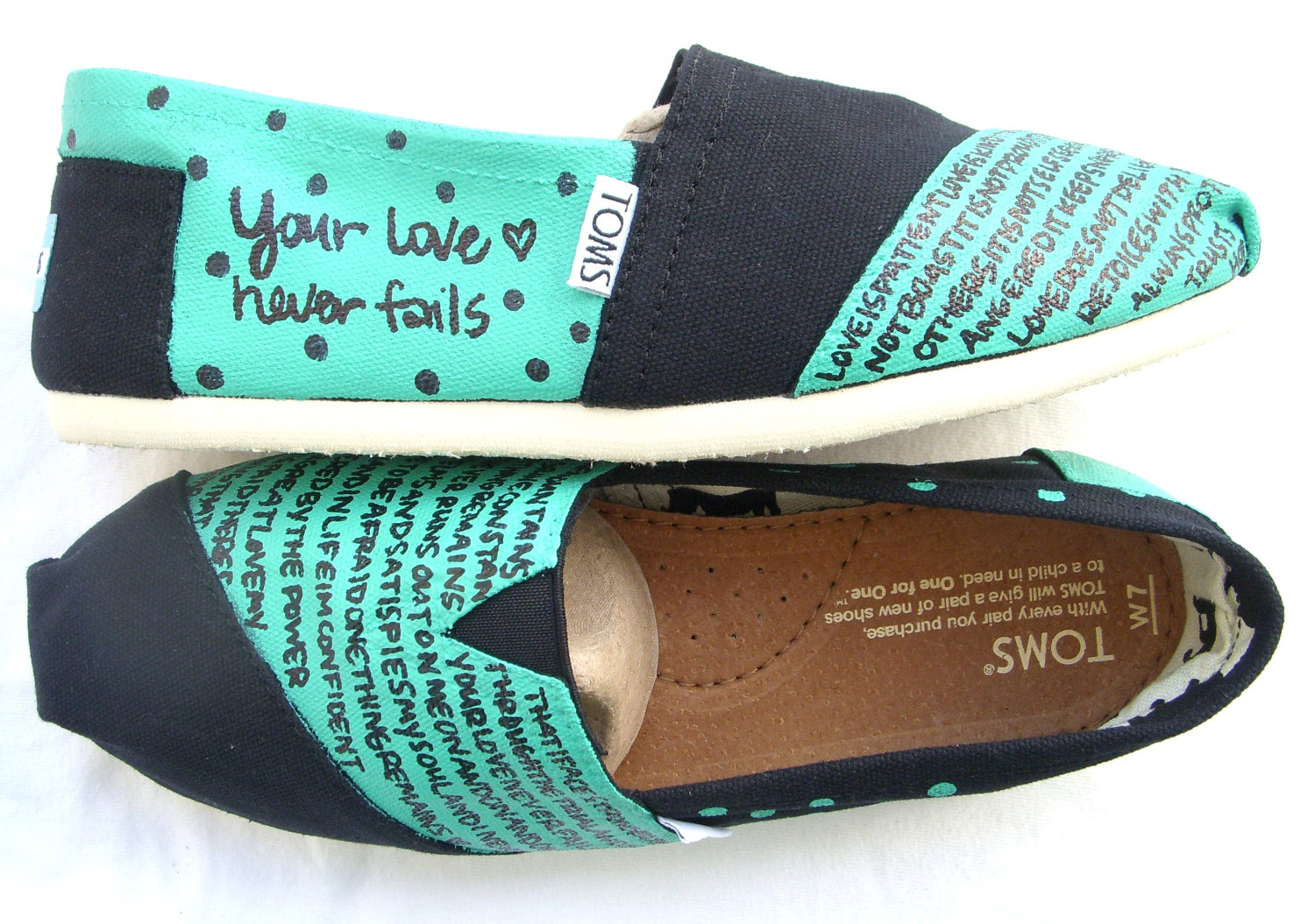 The Hailey Teal and Black Custom TOMS by FruitfulFeet on Etsy