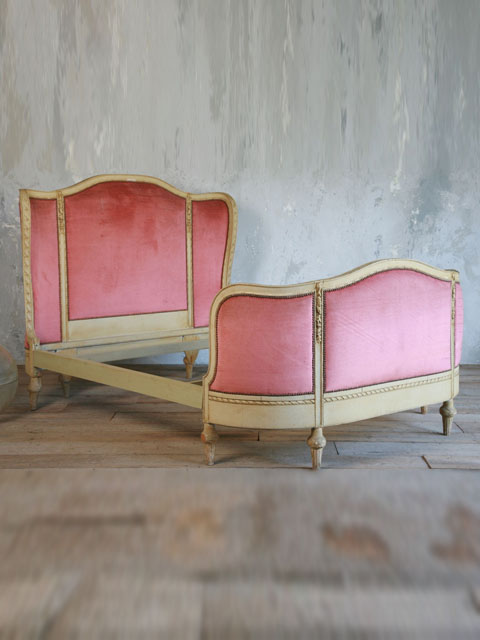 Vintage Serpentine Bed with Raspberry Red Upholstery
