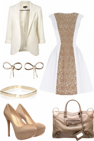 nude lace panel dress and balenciaga bag