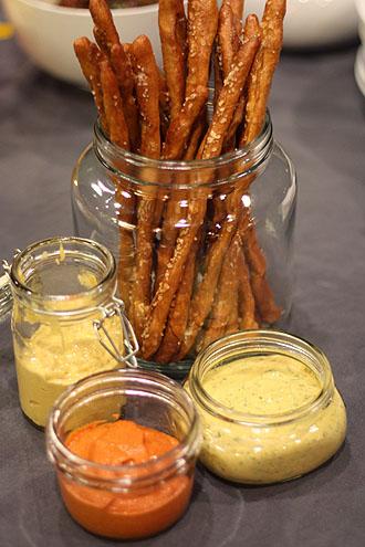 Easy Pretzel Sticks with Three Mustards