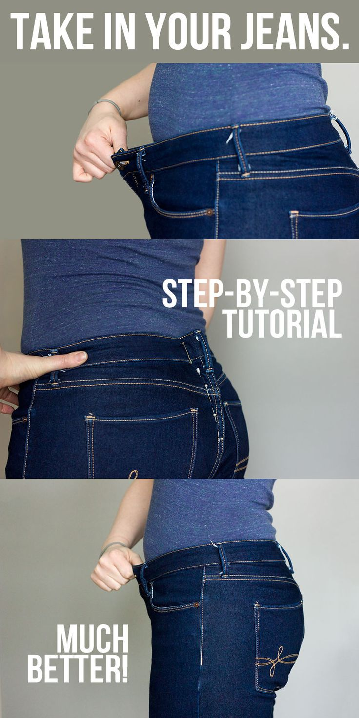 How to Take in a Jeans Waist by @Glitter+Wit