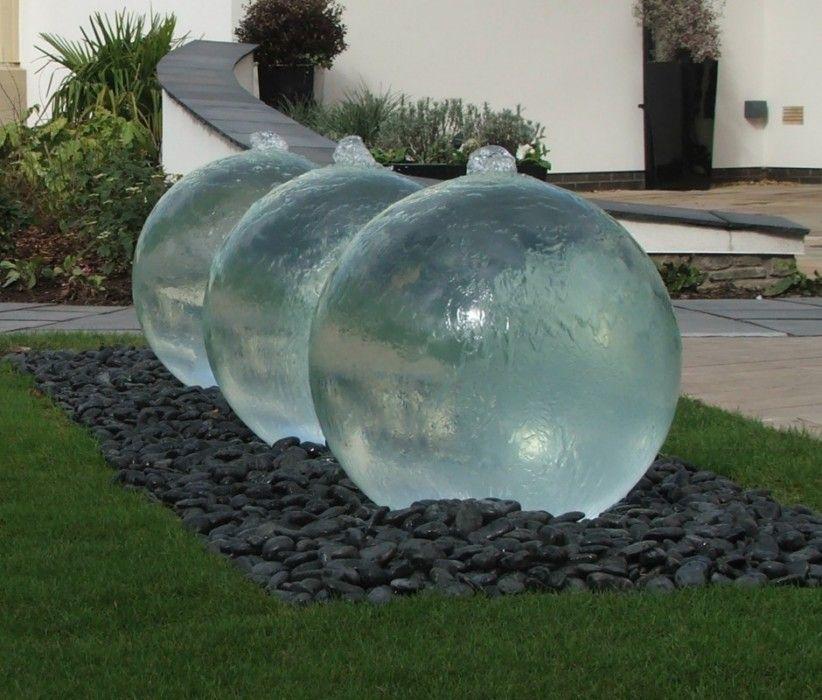 Triple Bespoke Glass Sphere Water Feature