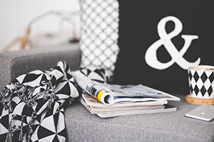magazines, pillows