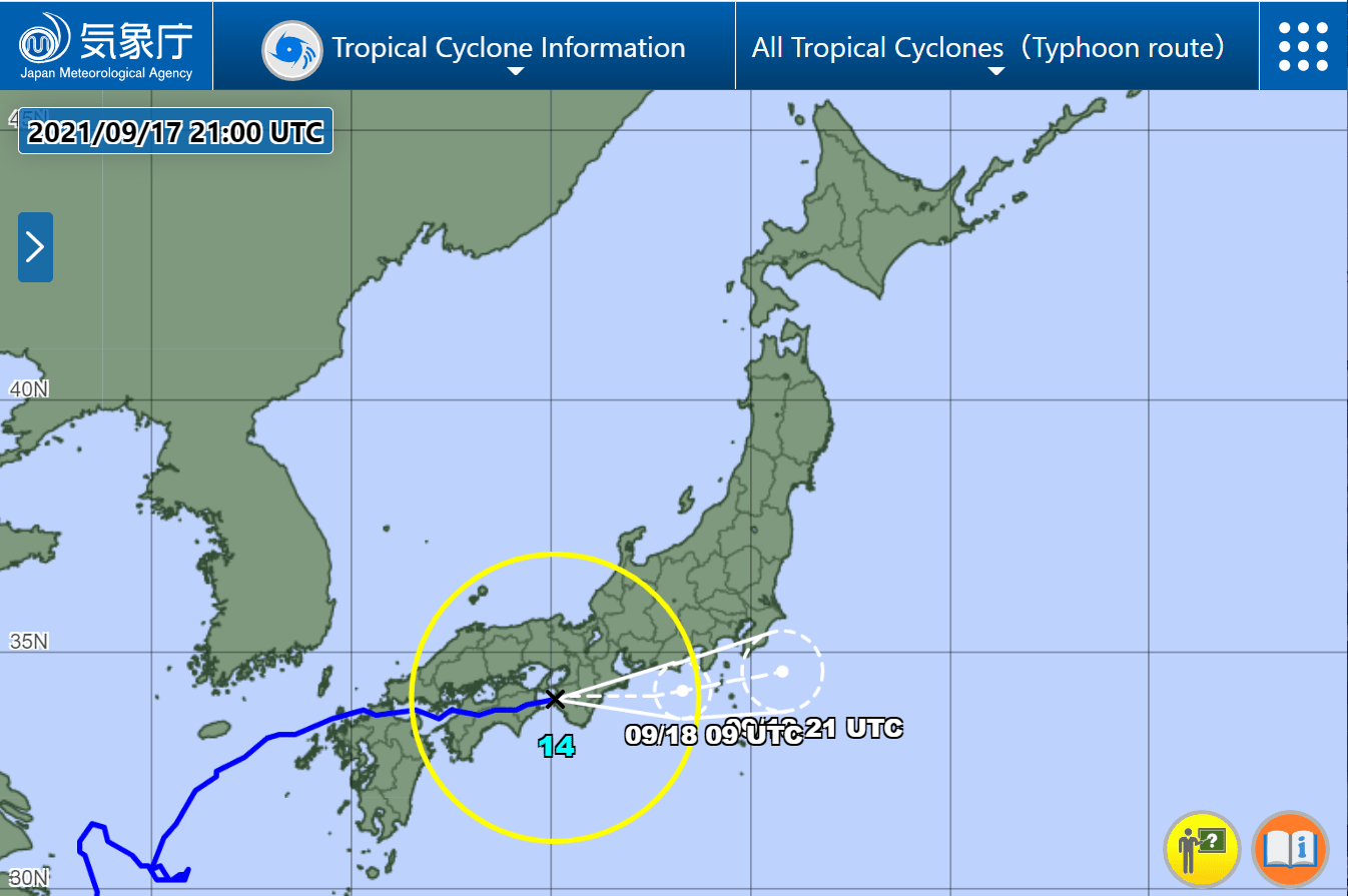 Tokyo approached Typhoon No.14 in strange route