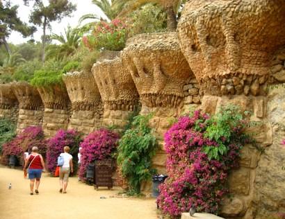 Bird's nests are built into the pillars of Park Güell's terrace.