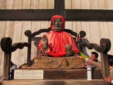 Binzuru arhat outside Todai-ji, believed to have curing powers.