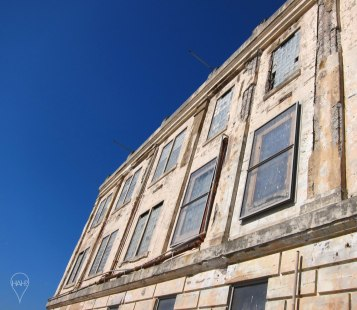 The main cell blocks of Alcatraz are more weather-beaten than menacing now.