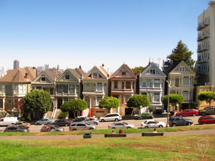 The most famous row of Painted Ladies, or colorful Victorian houses, is on Alamo Square.