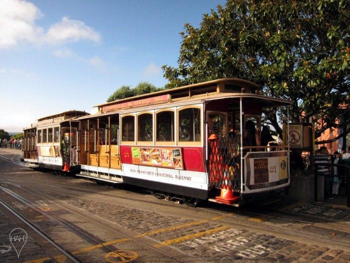 Cable car at the Beach Street terminus.
