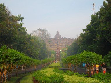 Today, the entrance to Borobudur is lush with greenery.