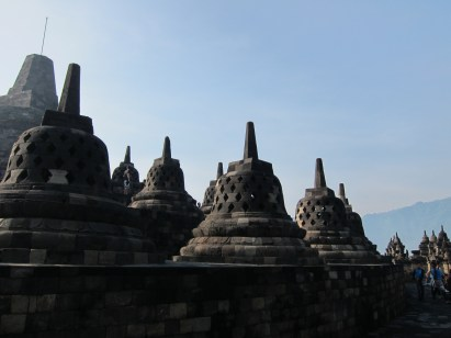 There are 72 stupas on the top platform, each containing a statue of the Buddha.