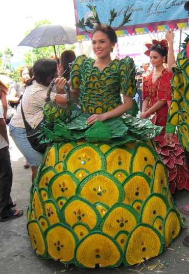 Pineapple gown made of abaniko, a local fan