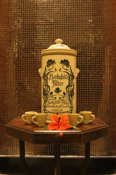 A vintage Berkefeld Filter on display at the spa