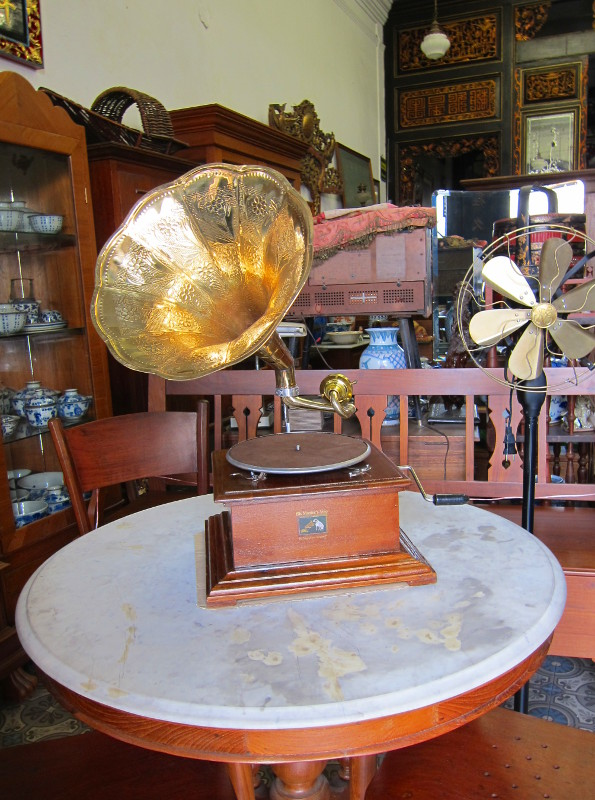 Gramophone in antique store