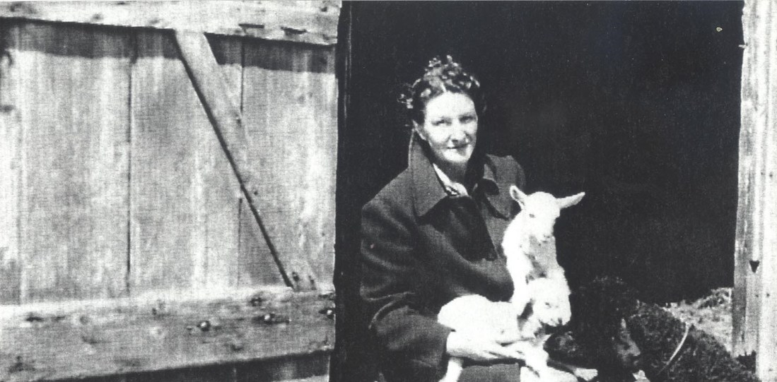 Virginia Hall with sheep in her lap in the doorway of a barn in France