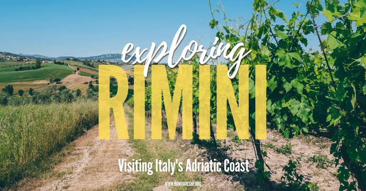Vineyards of Tenuta Santini near Rimini in Emilia-Romagna with a background view of Mount Titano