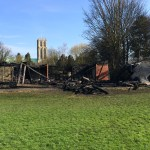 The sport pavilion at Ashes Playing Field  in Howden on the evening of Tuesday April 7 2015, having been destroyed by fire the previous evening.