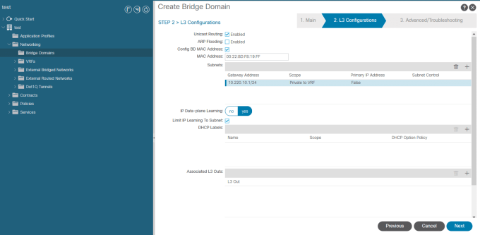 Cisco ACI - Add subnet to BD