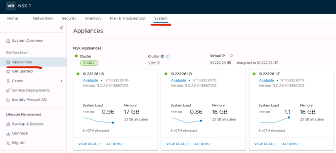 VMware NSX-T Managers cluster