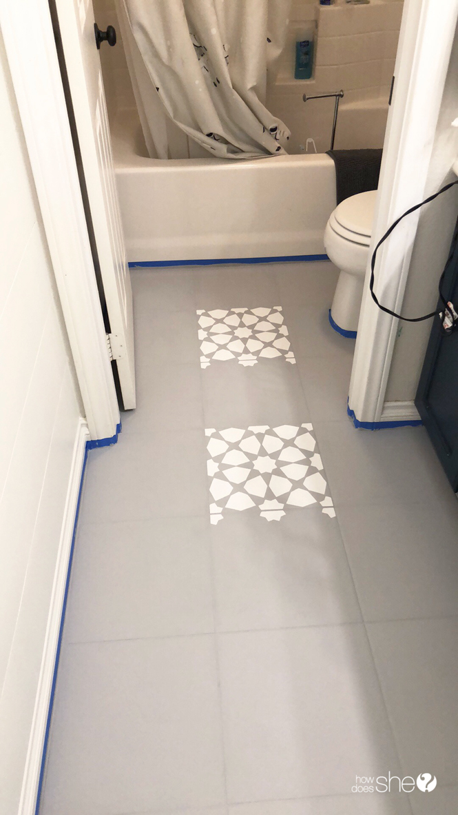 learn how to easily stencil floor tiles