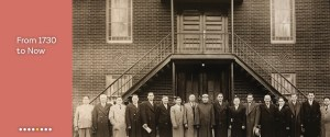"""""""From 1730 to Now: Discover the Timeline"""", next to a picture of Brooklyn's oldest Mosque and with founders standing in front."""
