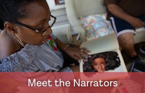 Meet the Narrators, a woman mid-story with a picture book in hand.