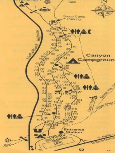 Mapka kempingu położonego przy Highway 1 i Mullholland