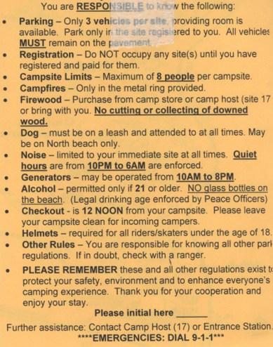Podstawowe zasady obowiązujące na kempingu