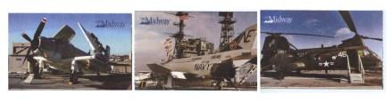 Na biletach wstępu na USS Midway znajdują się ilustracje samolotów, które służyły na lotniskowcu
