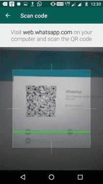 whatsapp QR code scan screenshots
