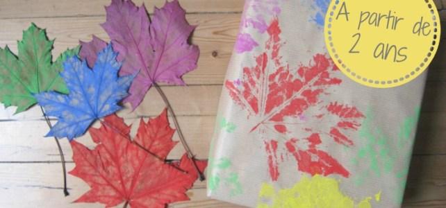 papier cadeau DIY tampon feuille automne+