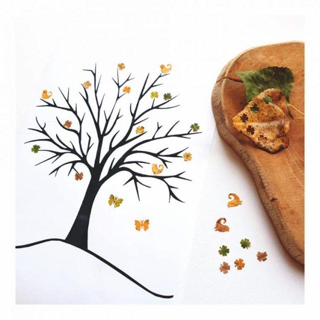 réaliser un arbre d'automne avec des gommettes naturelles