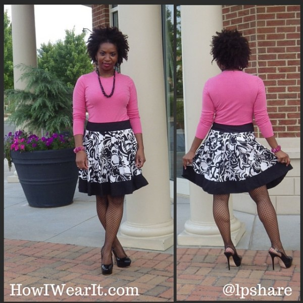 Pink Ann Taylor Top Cache Skirt Fishnets Heels