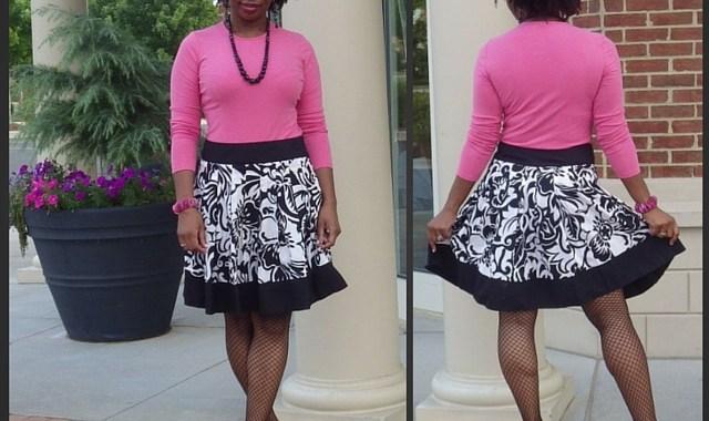 Pink Ann Taylor Top Cache Skirt Fishnets Heels