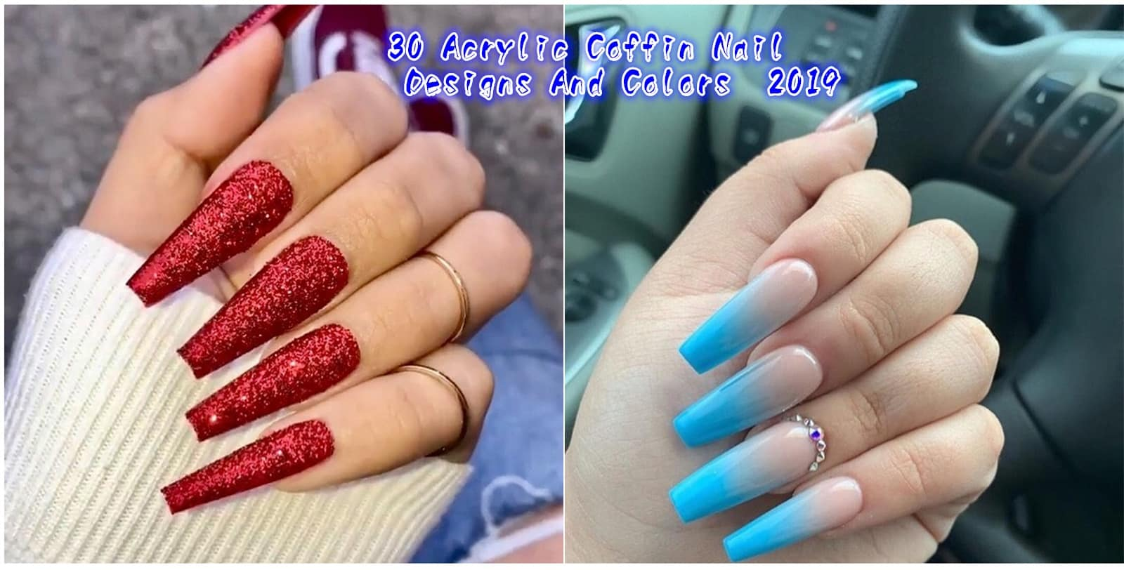 30 tylish Acrylic Coffin Nail Designs And Colors 2019 - 30 Stylish Acrylic Coffin Nail Designs And Colors 2019