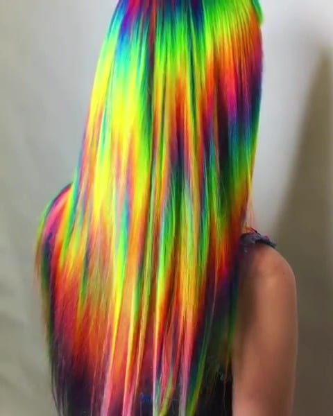 Rainbow Hair 04 - 41 Colorful Rainbow Hair Ideas In 2019