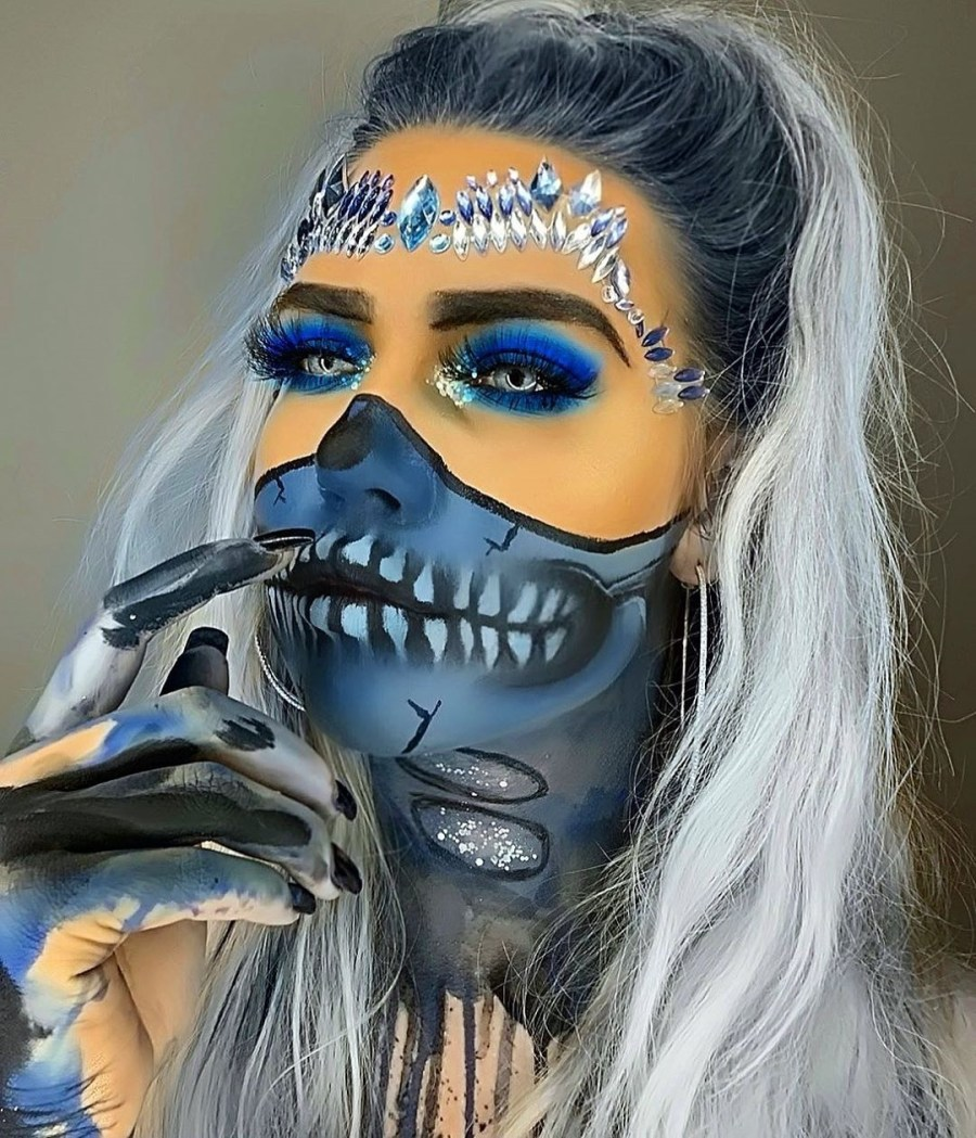 Halloween Skull Makeup 2020083010 - 10+ Scary Halloween Skull Makeup Ideas