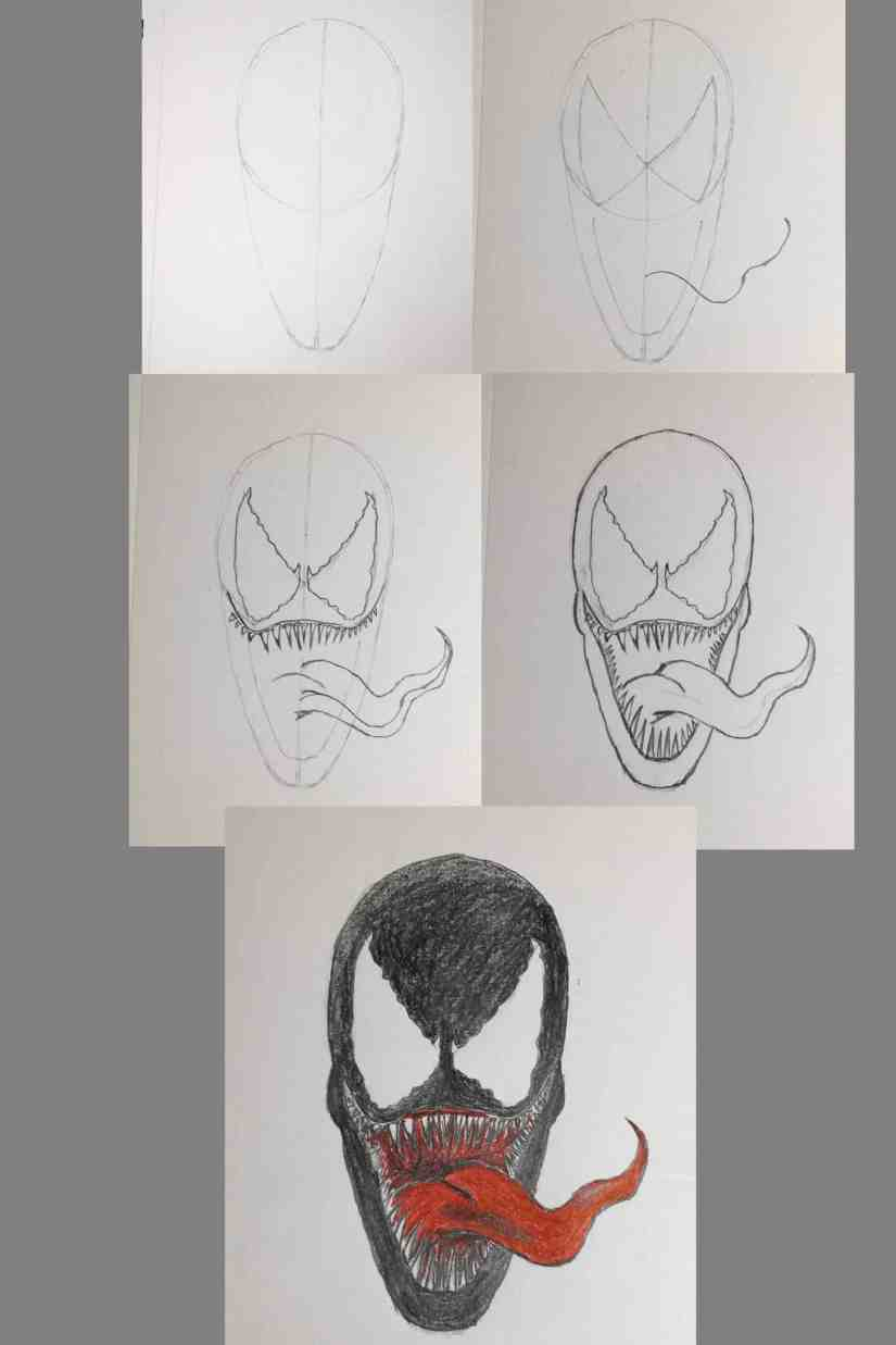 Draw Venom 2020100508 scaled - How to Draw Venom Simple Step by Step