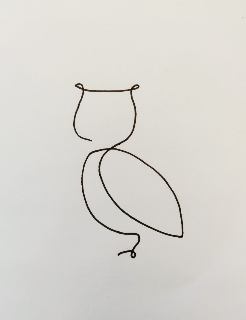 One line art drawing Owl 2021032101 scaled - One Line Art Creations to Inspire You