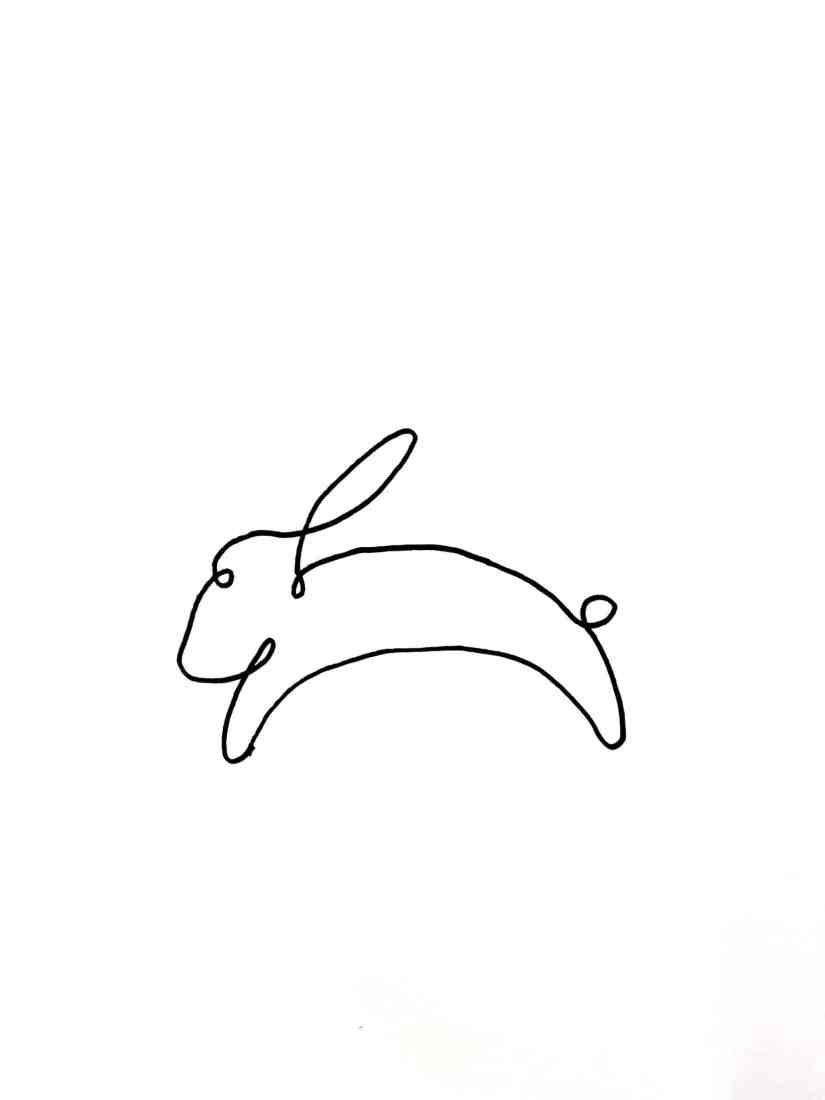 One line drawing Rabbit 2021031301 scaled - Learn How to One Line Drawing Rabbit