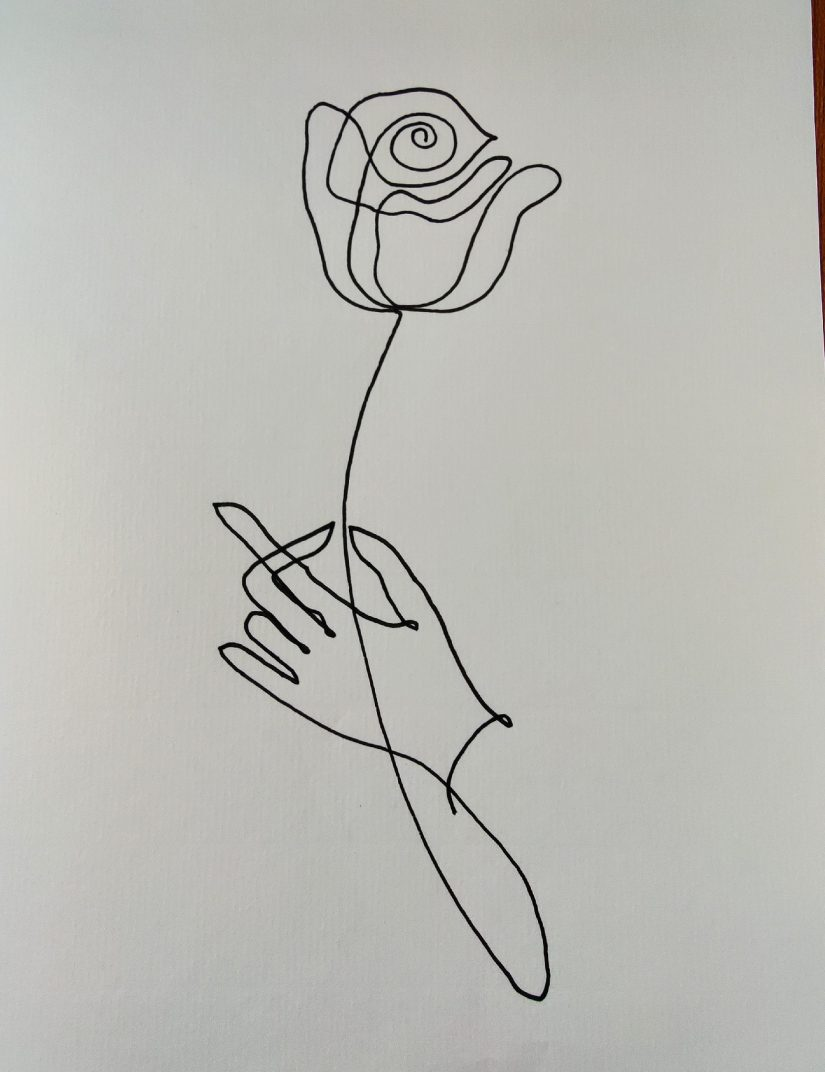 One line drawing hand and rose 2021040102 scaled - Practice One Line Drawing Hand and Rose