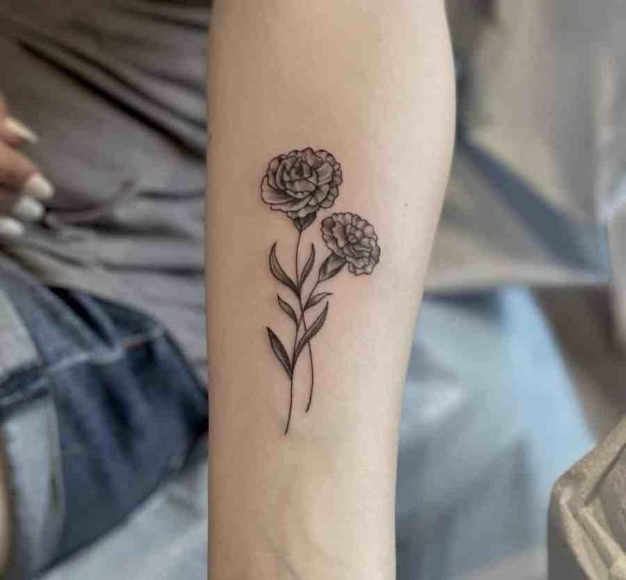 Carnation Tattoo 2021061504 - January Birthday Flower Tattoo - Carnation Tattoo