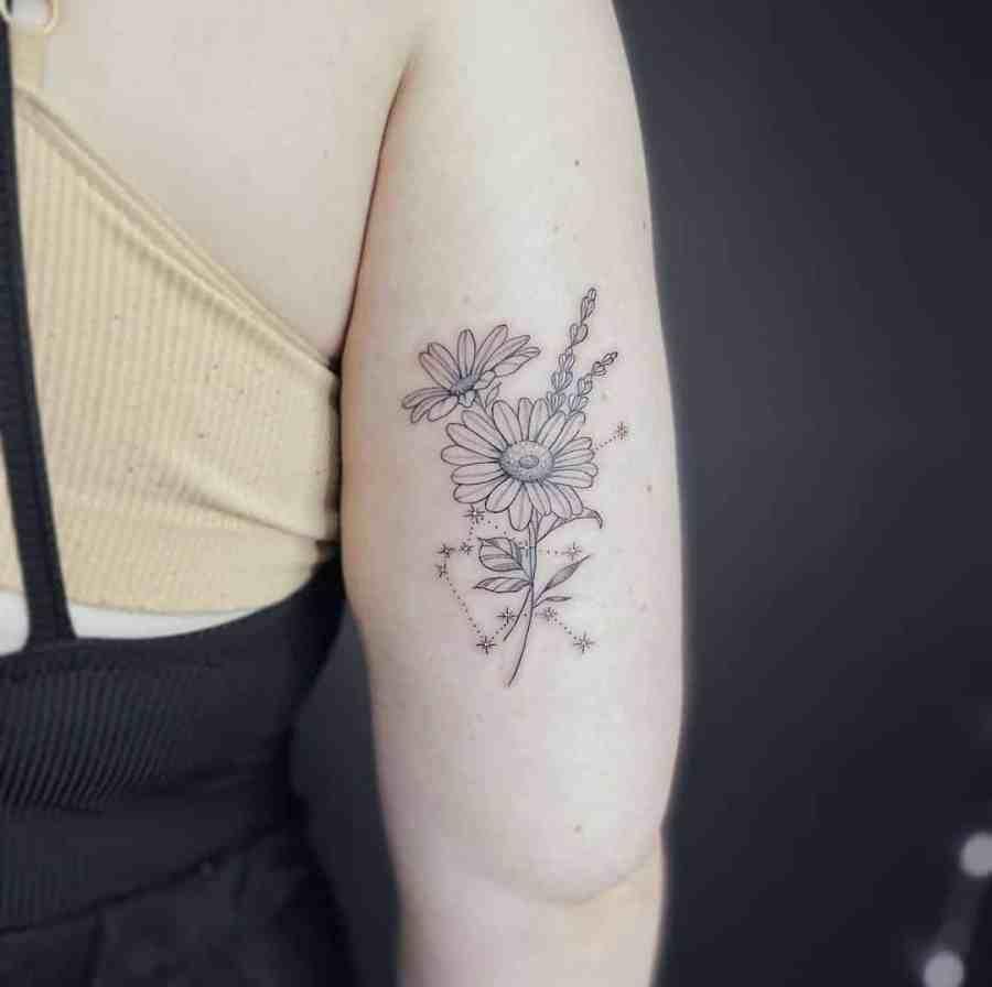 April Birth Flower Tattoos 2021072102 - April Birth Flower Tattoos: Daisy and Sweet Pea Tattoos