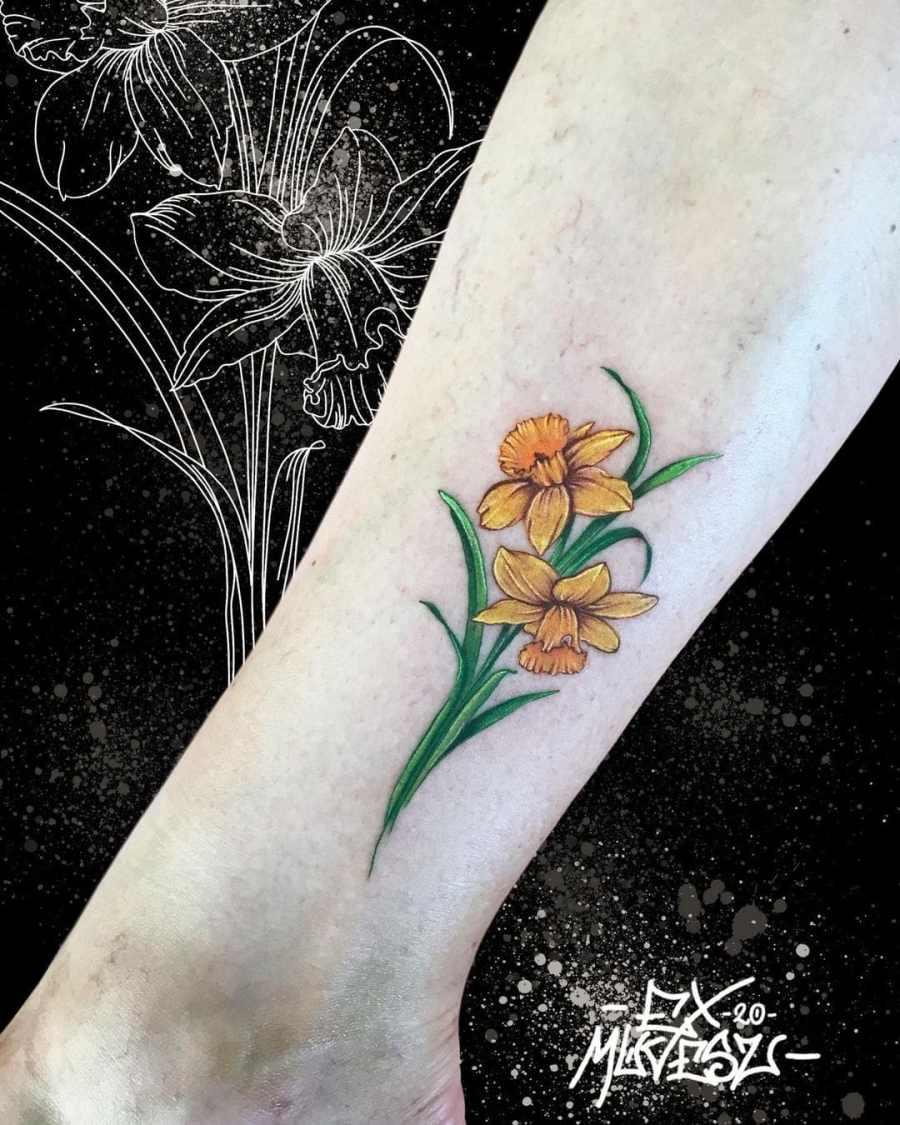 Daffodil Tattoo 2021070405 - March Birth Flower Tattoo - Daffodil Tattoo
